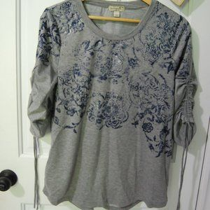 One World ruched sleeve gray top NWOT